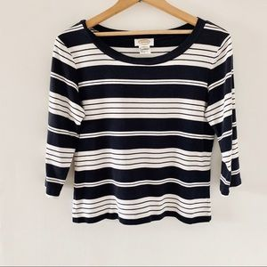 Talbots Striped 3/4 Sleeve Boatneck Cotton Top M
